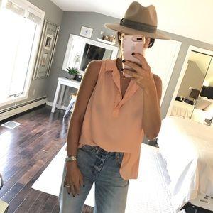 Equipment Tops - EQUIPMENT peach Silk sleeveless shirt large
